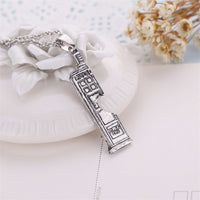 Tardis Police Box vintage Double Heart antique Pendant Necklace for Women