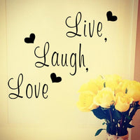 """Live laugh love"" Inspirational Quote Wall Sticker Home Decoration PVC Wall Decal Stickers For Offices, Seminars, Rooms - sparklingselections"
