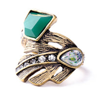 Retro Exquisite Acrylic Geometric Green Gem Rings For Women