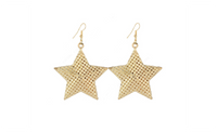 Gold Plated Dangle Long Big Stars Women Earrings With Holes