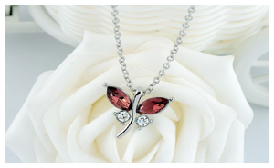 Cute Butterfly White Gold Plated Rhinestone Fine Pendants