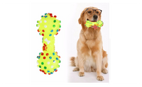 Colorful Dotted Dumbbell Shaped Squeeze Squeaky Faux Bone Pet Chew Toy