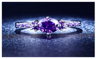 White Gold Plated Purple Amethyst Cubic Zirconia Ring