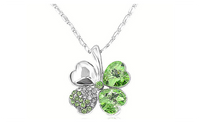 Austrian Crystal 4 Heart Shaped Clover Leaves 18K Silver Plated.
