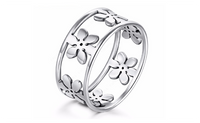 Stainless Steel Women Five Petals fashion Ring (Size-7,8,9)