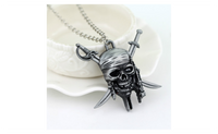 Caribbean Skull and Crossbones Captain Jack Sparrow Pendant Necklace