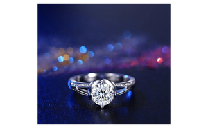 White gold filled CZ engagement Rings for Women