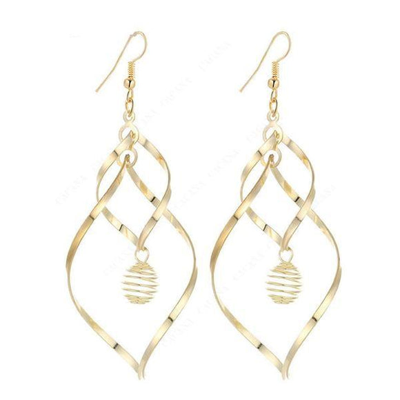 Women Gold Color Circle Dangle Long Earrings With Spring