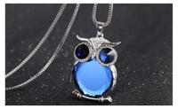 Owl Necklace Rhinestone Crystal Jewelry Statement Women Necklace