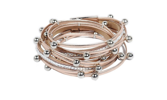 Leather Wrap Beads Charms Bangle Bracelet  For Women