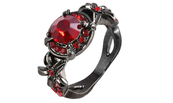 New Round Design Crystal Red Zircon Female Ring