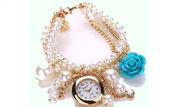 Rose Flower Pearl Round Dial Analog Quartz Bracelet Wrist Watch