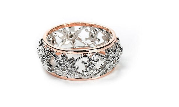 Silver Hollow Flower Wedding Rings For Women
