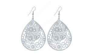 New Big Hollow Pattern Silver Plated Dangle Long Earrings
