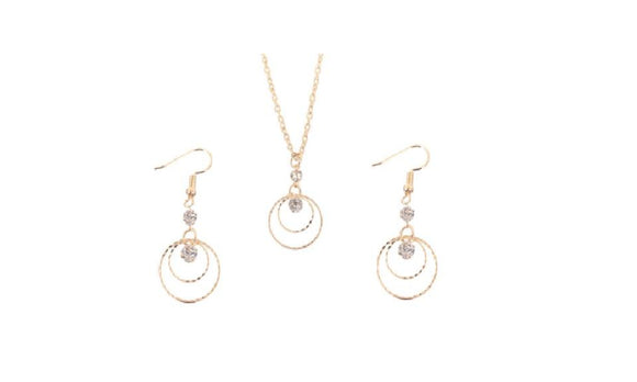 Gold Plated Crystal Necklace Earrings Jewelry Set