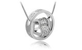 Silver Rhinestone Heart Fashion Pendant Necklace for Women