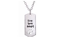 "Silver Plated Rectangular Dog Tag Style Pendant Necklaces"" Live Love Adopt"" Pet Rescue Paw Print Tag - sparklingselections"