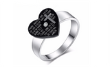 Stainless Steel CZ Stone Heart With cross Fashion Ring For Women (7)