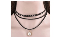 3 Layers Black Ribbon Bib Chocker Necklace For Women - sparklingselections