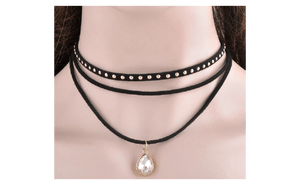 3 Layers Black Ribbon Bib Chocker Necklace For Women