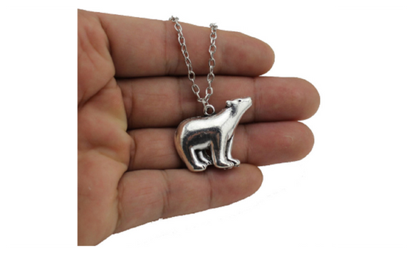 Vintage Silver Tone Polar Bear Short Women Necklace