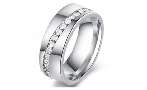Stainless Steel Slash a Line of Cubic Zirconia Stone Ring