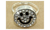 Happy Smile Face Crystal Rhinestone Adjustable Ring