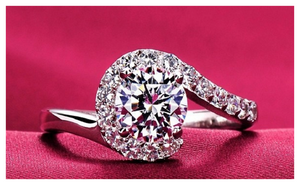White Gold Plated Vintage Engagement Ring for Women