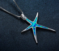 Fashion Blue Fire Star Opal White Gold Filled Necklace Pendant For Women