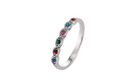 Antique Silver Plated Fashion Multicolor Crystal Ring For Women size 8