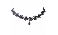 Vintage Gothic Crochet Lace Flower Tear Charm Choker Collar Necklace