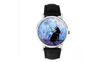 New Female Black Cat Pattern Leather Wristwatch