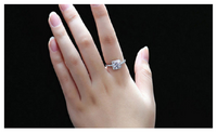Cubic Zirconia Rhinestone Silver Plated Wedding Ring Jewelry