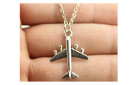 Simple Fashion Antique Silver Color Aircraft Necklace