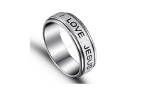 Stainless Steel Silver Plated I Lover Jesus Ring (6,7,8)