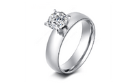 Stainless Steel Rings With Shining CZ Stone Smooth Fashion For Women - sparklingselections