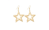 Double Five pointed Star Dangle Long Earings For Women