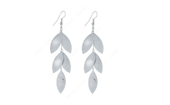 Silver Plated Shining Leaves Dangle Long Earring For Women