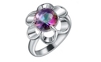Sunflower Natural Rainbow Wedding Ring For Women