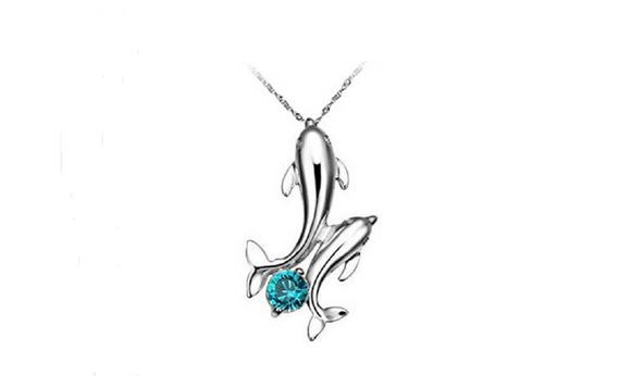 Cute Silver Plated Double Dolphins Pendant Charm Chain Necklace
