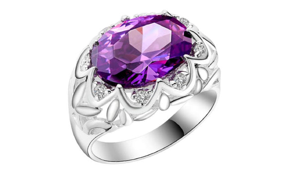 New Silver Plated Flower Engagement Paved Purple Ring