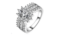 Creative Crystal Silver Plated Cubic Zirconia Stone Ring For Women (7,8) - sparklingselections