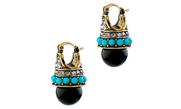 Women Round Black Palace Crystal Beautiful Earrings