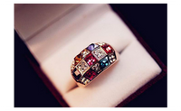 Blue Kiss Fashion Colorful Crystal Rings For Women