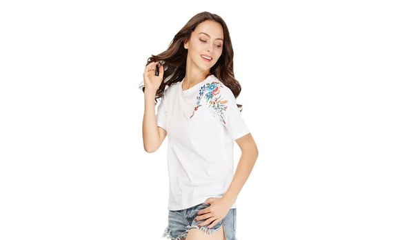 Flower Design Embroidery Short Sleeve T-shirt for Women
