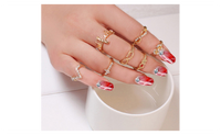 7 pcs Women's Rhinestone Bowknot,Knuckle,Midi,Mid Finger Tip Rings Set