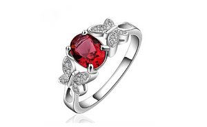 Cocktail Party Butterfly CZ Silver Plated Ring For Women (Size-7,8)