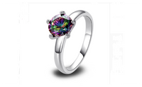 Mystic Rainbow Topaz Party Women Wedding Silver Plated Ring