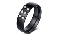 Black Color Ring With Shining Cubic Zirconia Stone Fashion Jewelry