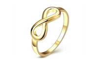 Vintage Yellow Gold Plated Infinity Finger Ring For Women-7